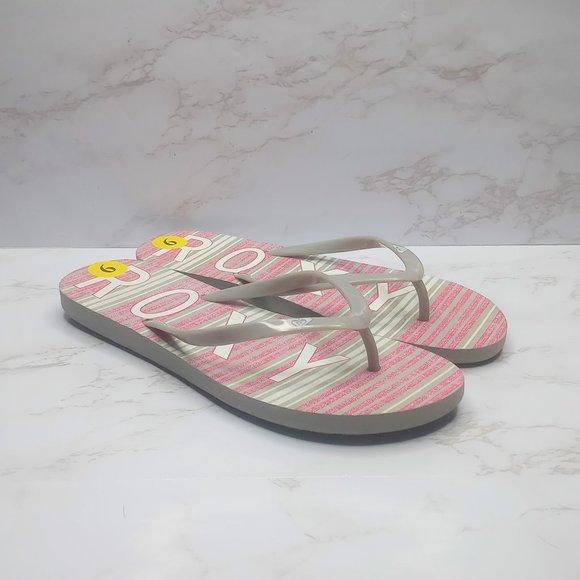 Roxy women's flip flops, size 9 grey & pink stripe